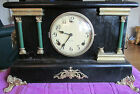 VINTAGE BLACK LACQUER WINDUP GILBERT MANTEL CLOCK WITH KEY