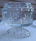 Vintage Fancy Avon Stemmed Jar,clear glass,1970s,floral design,leaves -glassware