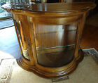 Vtg Oak Wood LIGHTED CURIO TABLE TOP DISPLAY CABINET Curved Glass 41