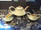 PEARL CHINA COMPANY USA YELLOW PORCELAIN & 22K GOLD TEAPOT CREAMER & SUGAR