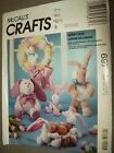 OOP McCALLS CRAFTS 697 STUFFED EASTER BUNNY DOLL BASKET SEWING PATTERN UNCUT