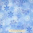 Christmas Fabric - Winter Large Snowflake Toss Blue - Timeless Treasures YARD