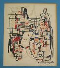 VINTAGE MID CENTURY IMPRESSIVE ABSTRACT CONSTRUCTIVISM MODERN PAINTING MYSTERY