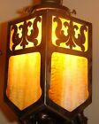 ARTS & CRAFTS BRASS STAINED SLAG GLASS LAMP FIXTURE SHADE