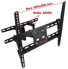 ARTICULATING LCD LED SWIVEL TITT DUAL ARM TV WALL MOUNT FOR 37 40 42 46 50 52 M