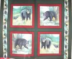 1 yd Wild Life Black Bear Pillow Panel Spring Flowers Water Stream
