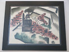 KIMO MARTIN VINTAGE 1940'S AMERICAN MODERNISM CITYSCAPE CHURCH WPA PAINTING
