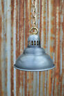 SMALL VENTED STEAMPUNK ANTIQUED STEEL CEILING LIGHT SHADE LAMP WITH CHAIN SV1BC