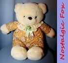 VTG 1980s COMMONWEALTH Cream Colored Plush Teddy Bear w/Quilted Roses Print/Lace