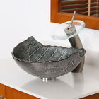 Bathroom Winter Leaves Design Glass Vessel Sink & Nickel Waterfall Faucet Combo