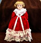 Victorian Red Velvet/White Lace Collectible Porcelain Doll Christmas Holiday 17