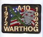 REPUBLIC A-10 THUNDERBOLT WARTHOG 1972 1992 USAF FIGHTER TFS SQUADRON PATCH