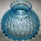 Vintage 10 Fitter Blue Diamond Quilted Glass Lamp Shade Beaded GWTW Student NOS