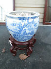 53128   Oriental Pottery Planter on Wood Stand