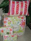 DENA HOME Ikat Blossom Pink  Lime Green  4pc Full/Queen Quilt Coverlet Set