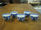 Vintage set 5 Blue & White Decorated Tea cup Sake Cup Rice bowls Mt Fuji Temple