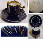 Hand Painted Cobalt Blue Heavy Gold Trim Demitasse Cup & Saucer Made in  Germany