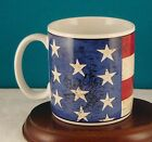 SAKURA WARREN KIMBLE COLONIAL FLAG MUG 1997 Red White Blue Rustic Look