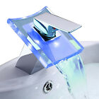 2015 NEW LED Color Waterfall Basin Faucet Sink Mixer Tap Chrome Brass Bathroom