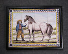 Antique Dutch Delft Tile-Picture Man & Price Horse 19TH C.