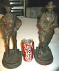 ANTIQUE SPANISH AMERICAN WAR KBW BRONZE CLAD ARMY NAVY SOLDIER STATUE BOOKENDS
