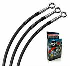 FIT MOTO GUZZI V50 MONZA MK2 82-83 CLASSIC BLACK BRAIDED STD FRONT BRAKE LINES