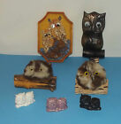 7 Owls 1 Seed Plaque 2 Ceramic 1 Wood 1 Wall Art Old Owl Figure Retro Hippy Bird