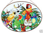 TROPICAL AVIARY MACAW PARROT COCKATOO LOVE BIRDS ART GLASS WINDOW PANEL