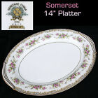 Vtg NORITAKE Japan SOMERSET Roses #5317 GOLD Trim OVAL SERVING PLATTER PLATE 14