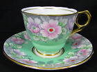 ROYAL STAFFORD MINTY GREEN BEADED FLORAL TEA CUP AND SAUCER