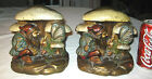 ANTIQUE FAIRY TALE GNOME BUTTERFLY MUSHROOM BRONZE CLAD ART STATUE TOY BOOKENDS