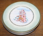 FITZ & FLOYD WINTER HOLIDAY SANTA 6 SALAD PLATE SET 9 1/4