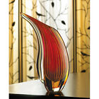 Sunset Red  Yellow ART GLASS Freeform Decorative Flower VASE Modern Abstract