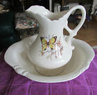 VINTAGE TREASURE CRAFT CERAMIC TAN SPECKLED PITCHER & BASIN SET WITH BUTTERFLY
