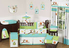 TURQUOISE BLUE LIME GREEN OWL NATURE BABY GIRL BOY CRIB BEDDING SET FOR NEWBORN