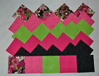 BRIGHT GREEN  HOT PINK PAISLEY ON BLACK KIT 4 Inch Quilt Squares 50