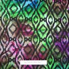 Batik Fabric - Large Black Diamond Purple Green Blue - Textile Creations 30