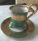 Royal Sealy Cup & Saucer Made in Japan China Beautiful Green & Gold Color