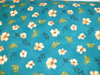 1 Yd. Red Rooster Quilt Fabric Leaves and Orange Ivory Flowers on Teal