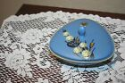 Vintage Flora Plateel Gouda Hollalnd Pottery Signed Pretty Blue Candy Dish