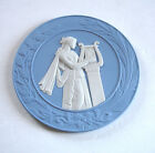 Wedgwood Blue Jasperware 2011 Plate Roman Lady w/Harp Bas Relief $199.00 U.K New