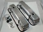 Pontiac Polished Finned Valve Cover Kit W/ Gaskets 326 330 350 455 1963 -1979 V8