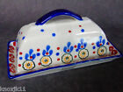 NEW Signature Housewares Stoneware BUTTER DISH PLATE Burgundy Blue Full Size NWT