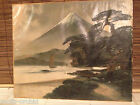 Japanese Oil Painting on Silk Sailing Ships Volcano Pine Trees Signed
