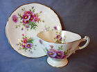 * HAMMERSLEY China Pink Flowers TEA CUP & SAUCER -  Gold Border