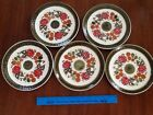 schramberg tirol - (5) dessert/sandwich plates - german pottery - red flowers