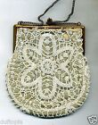 Beaded Purse lace design White Beads Vintage
