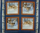 1 Yd. Wildlife Pillow Panel Quilt Fabric Wolf Pack Wolves Snow Brown Blue