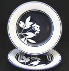 DANSK SUREAU SALAD PLATE BLUE RINGS AND CENTER WITH WHITE LEAVES AND BERRIES two