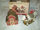 SAKURA Debbie Mumm Barn Sugar and Cow Creamer Weather vane  set SL919/7 ceramic